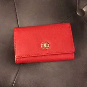 Authentic Chanel Red 6 Key Holder